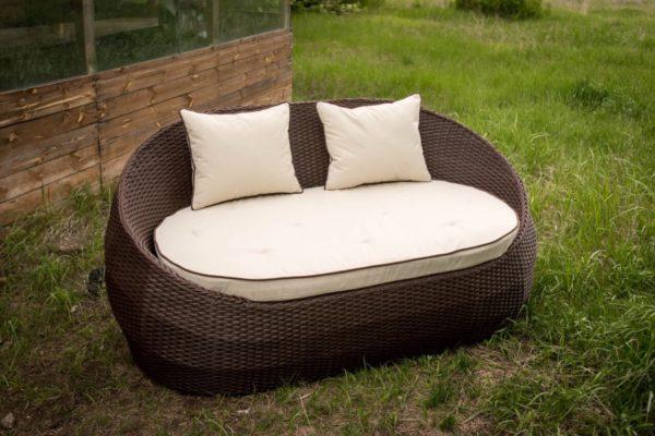 Кресло диван садовый Папасан из ротанга шоколад