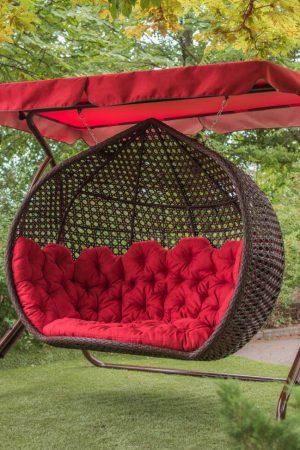 Большое садовое подвесное кресло кокон в цвете тик с красным