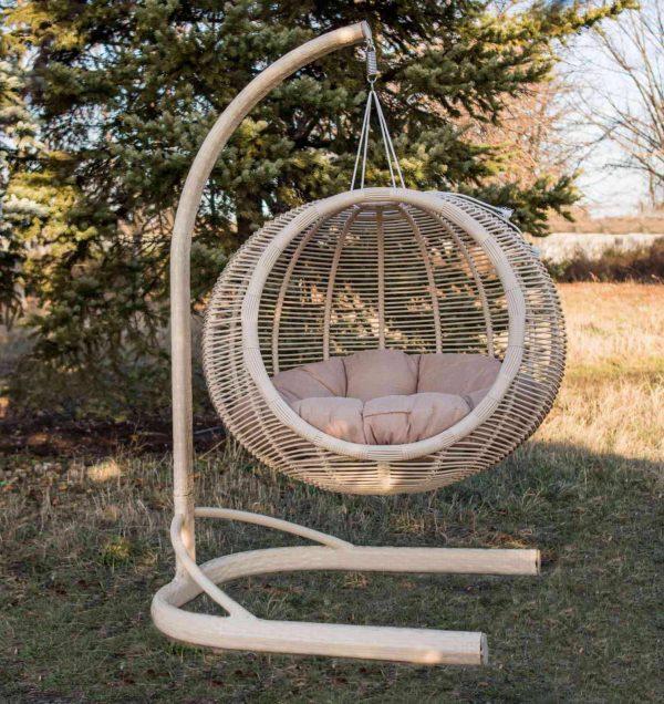 Большое подвесное кресло кокон Арена бежевая