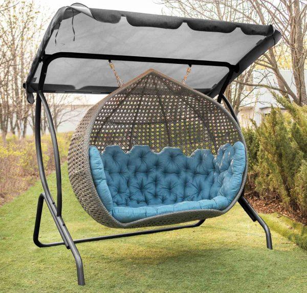 Эксклюзивные садовые качели Дабл Гранд из ротанга от ЮМК
