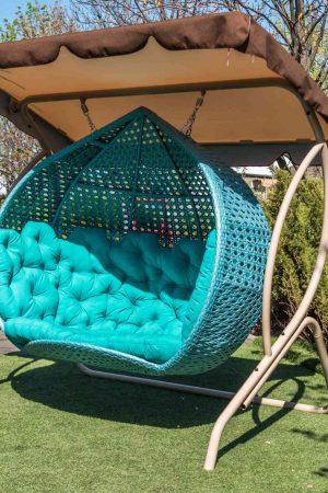 плетёное Кресло кокон из ротанга Дабл Гранд с крышей