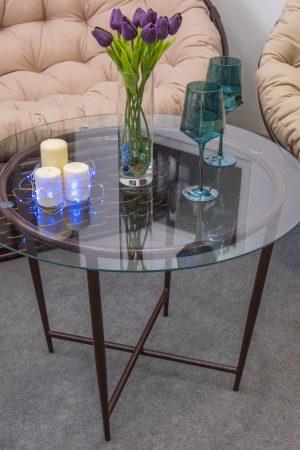 столик с круглым стеклом маленький