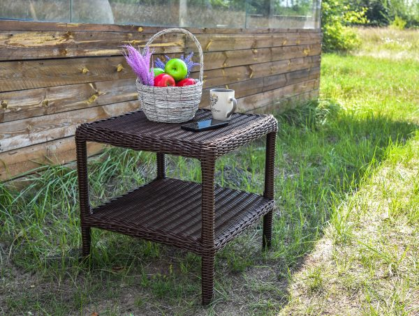 Плетёный столик из ротанга шоколад