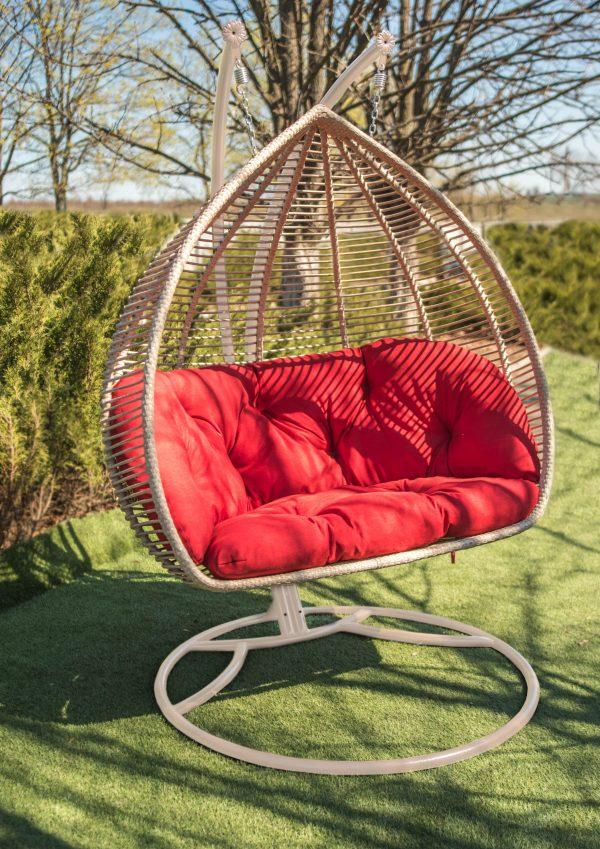 кресло кокон Дабл люкс с горизонтальным ровным плетением