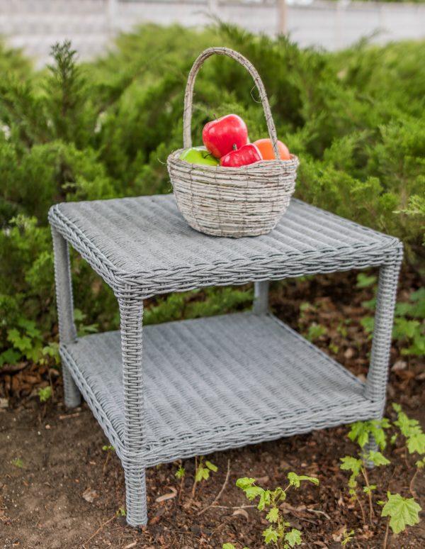 журнальный столик Парадиз серый ротанг