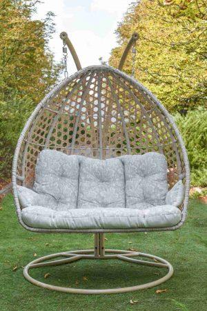 Большое подвесное кресло кокон из искусственного ротанга