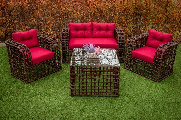 Мебель из металла с плетением искусственным ротангом