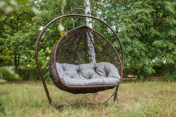 Кресло гамак двойное коричневое с серым