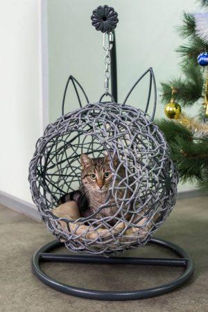 Подвесное кресло дом для кота из ротанга