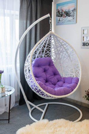 Кресло кокон белое с фуксией Арт Вуд ЮМК