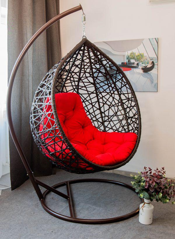 кресло кокон чёрное с красным купить Арт Вуд