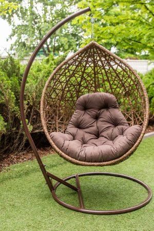 Кресло кокон гарди биг коричневое с коричневым