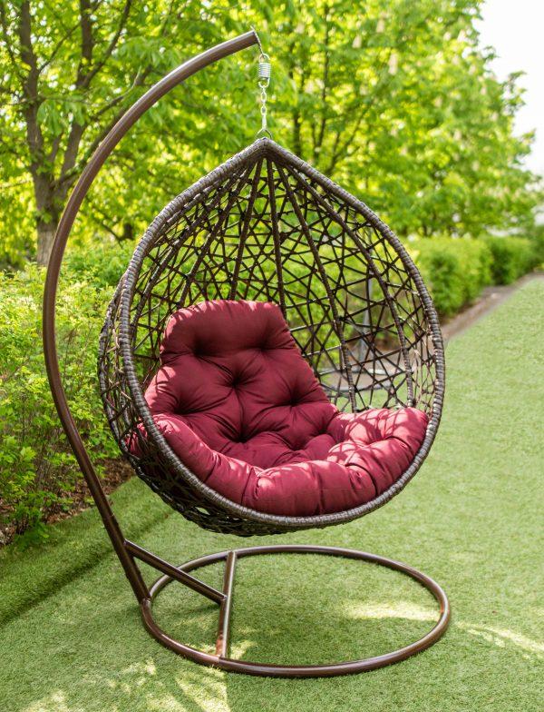 крісло підвісне Артвуд коричневе з подушкою бардо