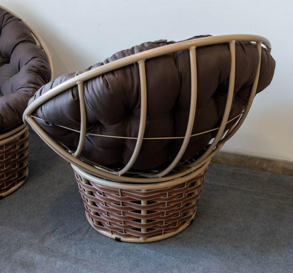 кресло папасан с плетёным низом