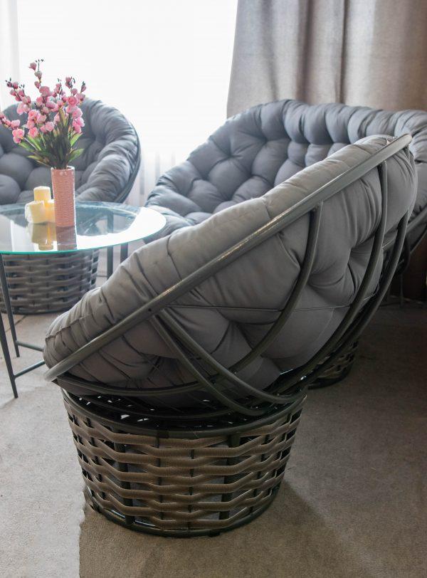Кресло папасан люкс серое