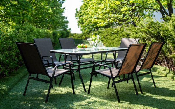 Столовые комплекты мебели из металла и текстилена