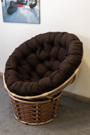 кресло кокон на пол папасан люкс беж с коричневым