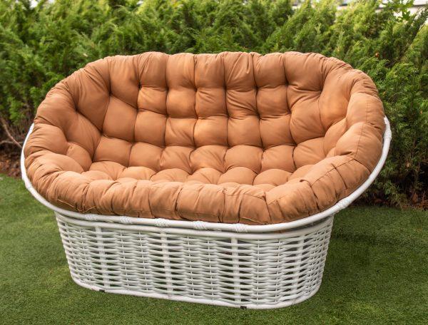 металлический диван Мамасан альфа с плетением ротангом