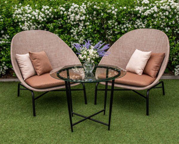 столик и два кресла из ткани текстилен