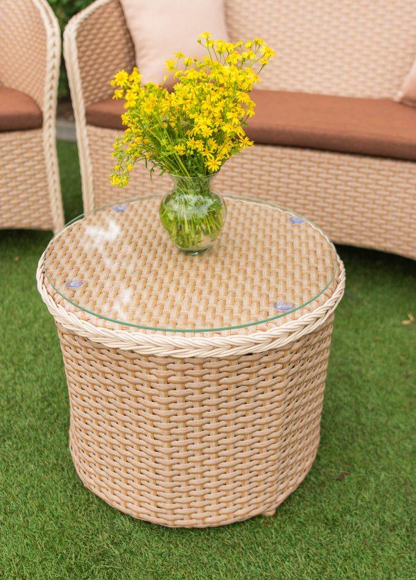 плетёный круглый столик со стеклом