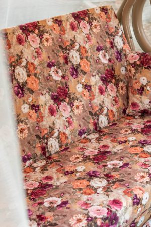 качели для сада с матрасом в цветочек