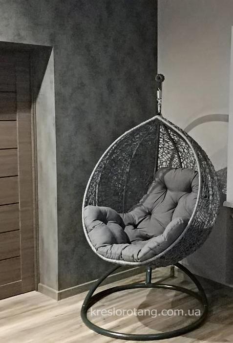 Кресло кокон со стойкой Эмилия серая